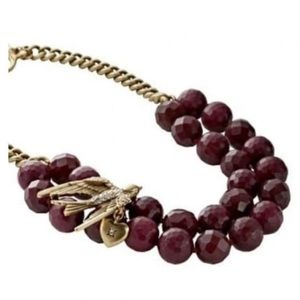 Fossil Bronze and Plum Beaded Bird Necklace